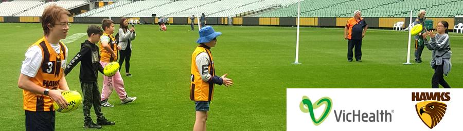 Image of AFL Hawks Blind Footy Holiday Clinic. We joined in!